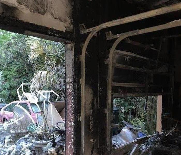 Soot and smoke damage to garage after fire