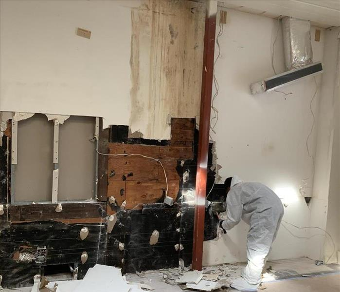 Cleaning crew member performing restoration to a wall destroyed by water and mold damage.